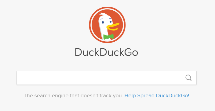 Captura de tela da página inicial do DuckDuckGo